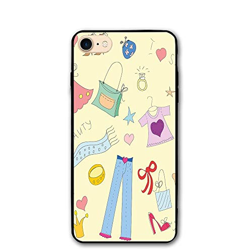Haixia IPhone 7/8 Case 4.7 Inch Heels Dresses Shopping Themed Doodle Items Princess Beauty Hearts Stars Girls Room Decorative