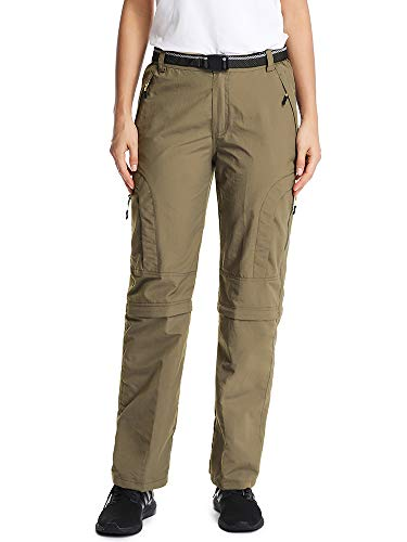 Women's Hiking Pants Adventure Quick Dry Convertible Lightweight Zip Off Fishing Travel Mountain Trousers #6601F-Khaki,XXL 36