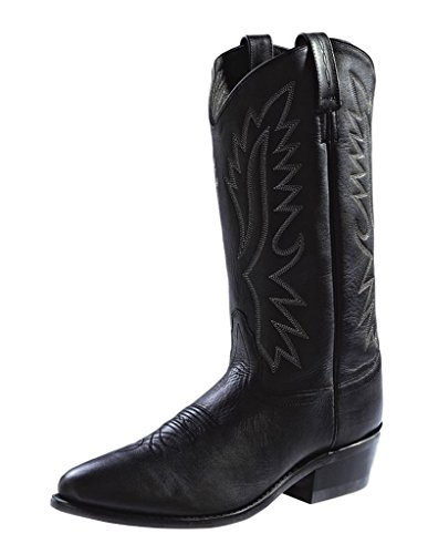 Old West Black Mens Polanil Leather 13in Narrow Round Toe Cowboy Boots 8 EE