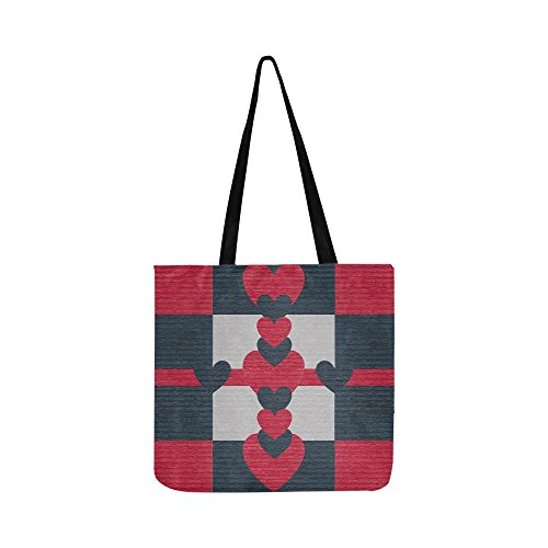 Valentine Heart Love Leather Design Red Navy Canvas Tote Handbag Shoulder Bag Crossbody Bags Purses For Men And Women Shopping Tote (Heart Handbag Winged)