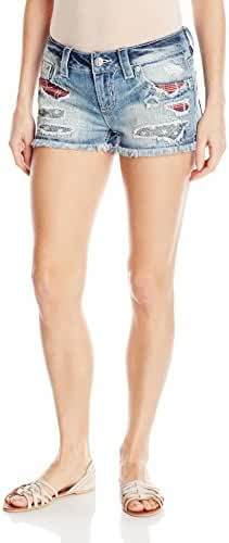 Miss Me Women's Americana Embroidered Denim Short