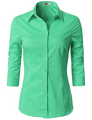 - Doublju Womens Slim Fit Plus Size 3/4 Sleeve Solid Button Front Work Shirt Mint X-Large