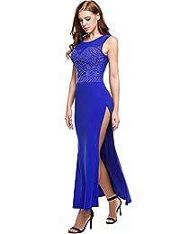 Meaneor Women's Retro Rhinestone Front Sleeveless Mesh Slit Maxi Prom Dress