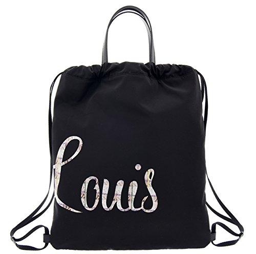 LOUIS QUATORZE Black Nylon Drawstring Backpack Sack Bag with LOUIS Monogram HM1EV73BL One Size Black by LQ LOUIS QUATORZE