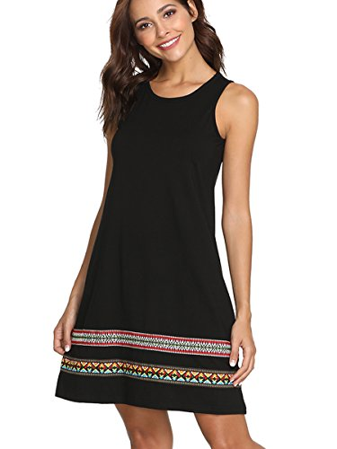 Boho Sleeveless Embroidered Casual Tank Dress