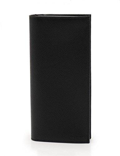 [プラダ]PRADA 二つ折り長財布 サフィアーノレザー 黒 ブラック メンズ 中古 B07DNRYMPJ