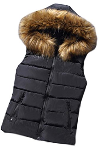 ARTFFEL-Women Warm Stand Collar Hooded Faux Fur Slim Quilted Vest Black L