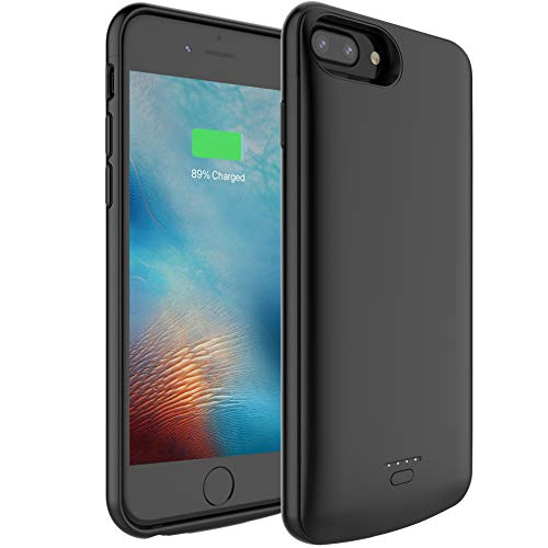Pumier 5500mAh Battery Case for iPhone 6 Plus/6s Plus/7 Plus/8 Plus(Support Wired Earphones),Rechargeable Protective Extended Battery Pack Charging Case(5.5 inch)