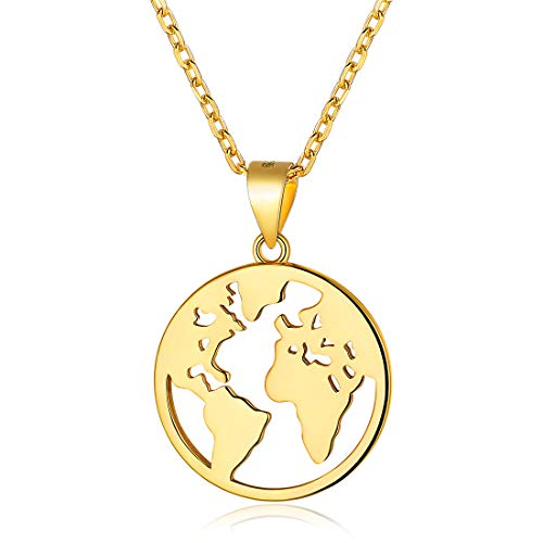 - Coin Necklace 18K Gold Plated Sterling Silver World Map Coin Pendant Necklace Vintage Jewelry for Women Men