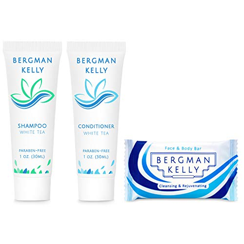 BERGMAN KELLY Soap Bars, Shampoo and Conditioner 3-Piece Travel Amenities Hotel Toiletries In Bulk Guest Size Bottles and Bars (Hotel Size 1 Oz, 20 Pack)