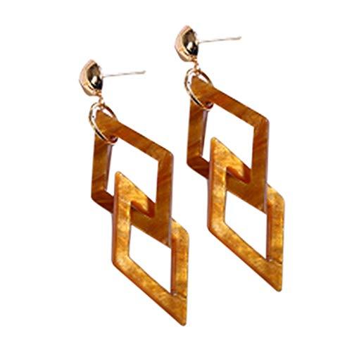 Earrings,Mebamook Vintage Acrylic Acrylic Geometric Double Quadrilateral Earrings Women's Jewelry ()