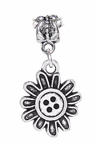 Crimp Tornado Beads (Daisy Button Flower Sunflower Dangle Charm for Silver European Bead Bracelets Crafting Key Chain Bracelet Necklace Jewelry Accessories Pendants)