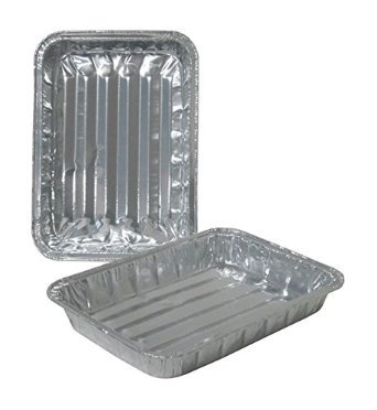 Broiler Pans Aluminum (Toaster Oven Small Disposable Reuseable Aluminum Broiler Pan Pans with Ridges - Set of 36, 8.75