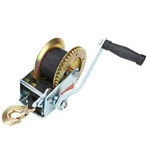 Amarite Manual Operated Hand Winch Boat Trailer Winch Hand Winch Mount 1200 lbs 26ft