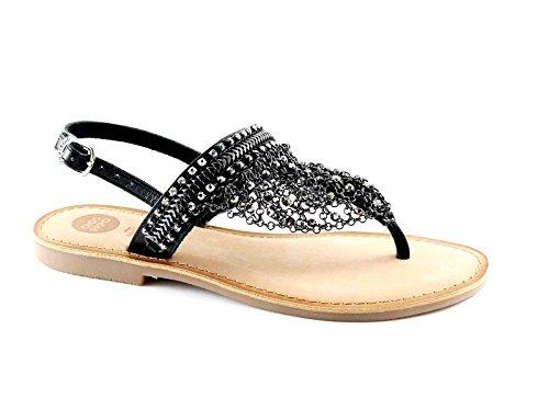 Gioseppo Myrna 39850 Sandales en Cuir Noir Femmes Noires Perles Strass Nero