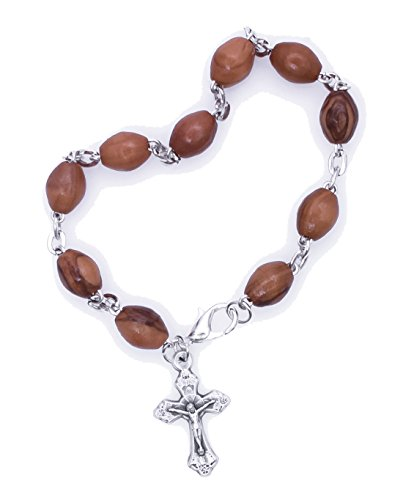 Bethlehem Olive Wood Factory Bracelet with Silver Chain and Cross Hand Made - BRA030 (Wood Cross Bracelet)