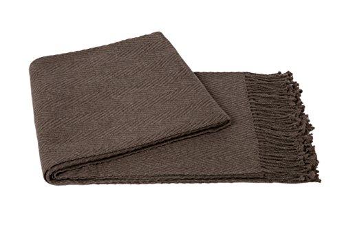 a & R Cashmere CV100SND Cashmere & Wool Blend Chevron Throw - Blend Sand Wool