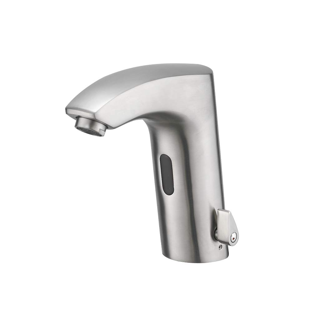 Automatic Sensor Touchless Bathroom Sink Faucet with Temperature Control Handle,Motion Activated Hands-Free Bathroom Vessel Sink Tap, Brushed Nickel,YY-55M013SN by TENLO