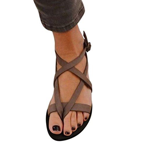 Stranden Jenter Størrelse 2 5 Sandaler Til Romerske Stropper Krysset Flops Uk Qiyun z Beaded Sommer Flip Brun 8 O0WwFqa57