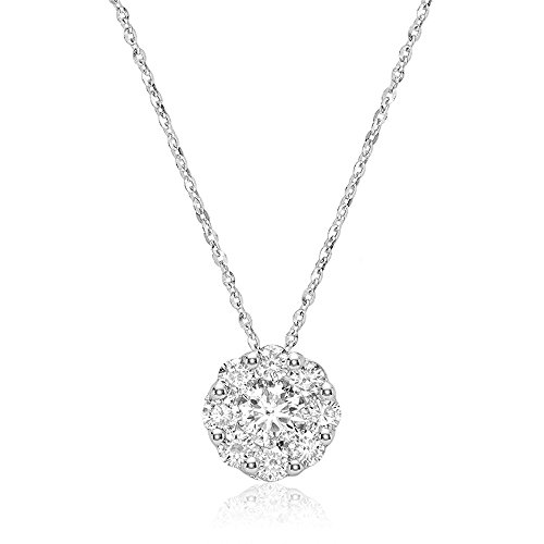 Jewels by Erika 10K Gold Diamond Flower Pendant (0.11-0.33TDW H-I Color, I1 Clarity) 18