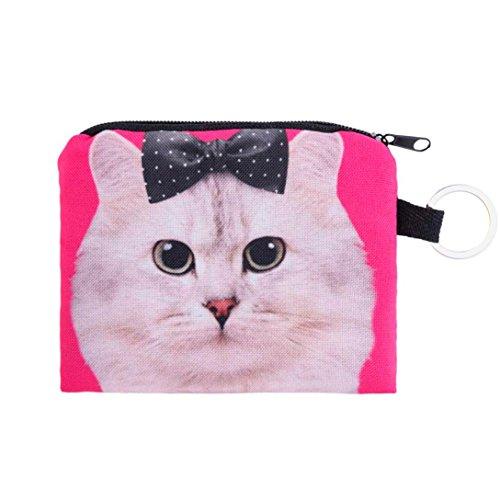 Coin Wallet,Neartime Coins Change Purse Zipper Wallet Small Key Bags Dog Cat Print (Khaki)