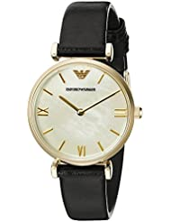 Emporio Armani Womens AR1910 Retro Black Leather Watch