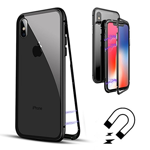 iPhone X Case, TUPELO Ultra-Thin Lightweight Case [Magnetic Adsorption Technology] [Metal Frame Tempered Glass Back] [Support Wireless Charging]
