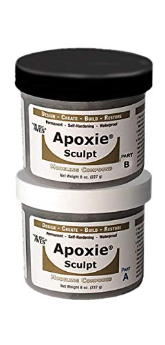 Waterproof Air Dry Clay for Sculpting and Repairs - Adhering to All Surfaces Non-Toxic 2 Part Epoxy Putty Sculpting Clay - 2 Part A & B Self Hardening Apoxie Sculpt Modeling Clay by Aves, 1 Lb, Black                   ]()