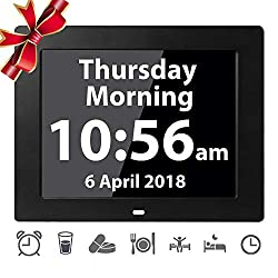 [12 Alarms] Digital Day Alarm Clock Electronic Calendar Large Clocks Reminder for Memory Loss Elderly Seniors Dementia Sufferers Alzheimers Products Wall Vision Impaired Patients Kids Room (Black)