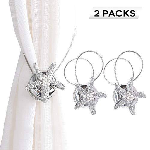 BSTC Curtain Tiebacks, Starfish Jewelry Magnetic Curtain Tiebacks Clips for Sheer Curtain & Curtain Holdbacks for Bathroom Living Room Hotel 1 Pair Sliver ... (Curtain Shell Tiebacks)