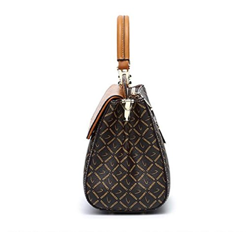 Sac Mme Sac Diagonale PVC à Main Sac Contraste Main Cuir Sac brown Sac Simple Sac Kelly Motif à Mode wqrtrFE