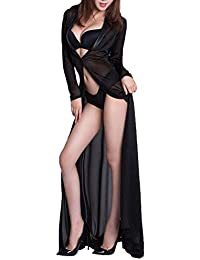 096ffaa8c5 Womens Sexy Lingerie Gowns Long Black Sheer Robe With G-String