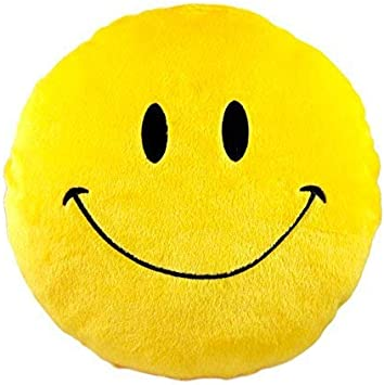 Jassi Toy Smiley Thick Stuffed Plush Pillow Round Cushion Pillow for Kids Birthday Gift