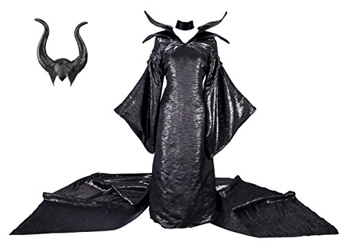Maleficent Style Women's Costume [Dress with Hat & Choker] Dark Witch Queen Dress Halloween Costumes (Medium, Black) ()