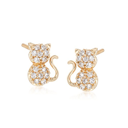 Ross-Simons Child's .15 ct. t.w. CZ Cat Stud Earrings in 14kt Yellow Gold 14kt Gold Cat Ring
