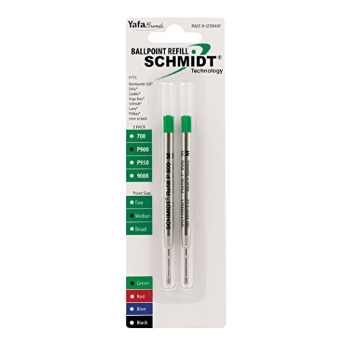 Schmidt P900 Ballpoint Tc Ball Parker Style Refill Medium, Green, 2 Pack Blister (SC58138)