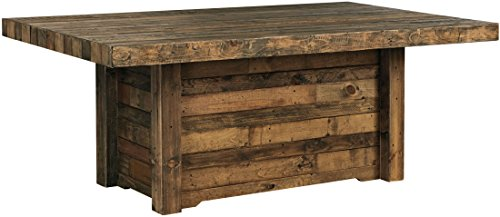 Ashley Furniture Signature Design - Sommerford Dining Room Table - Casual - Rectangular - Brown Finished Reclaimed Pine Wood - Butcher Block ()