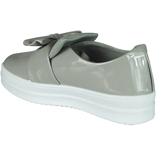 Womens Ladies Trainers Shiny Slip On Flat Bow Platform Sneakers Pumps Shoes Size 3-8 Grey z1yhT9P0A5