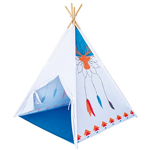 Reindeer Tribe Teepee Indian Tipi Tent Kids Indoor Playhouse Children Outdoor Play Castle Toy Hut with Wood Poles by POCO - Indian The Hut