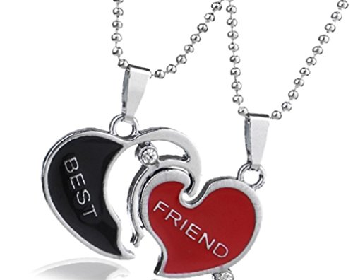 Black and Red Crystal Best Friends BFF Pendant Necklaces