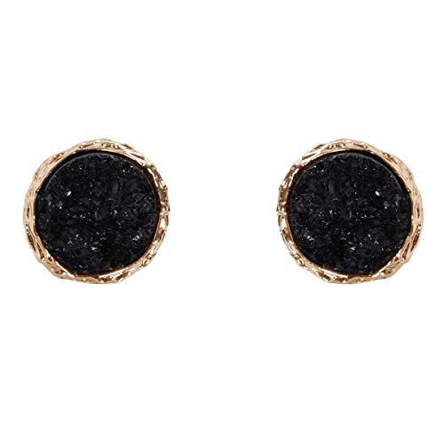 Humble Chic Simulated Druzy Studs - Gold-Tone Plated Round Circle Simple Minimalist Crystal Post Ear Stud Earrings for Women, 16mm Black, Simulated Onyx, 0.63 ()