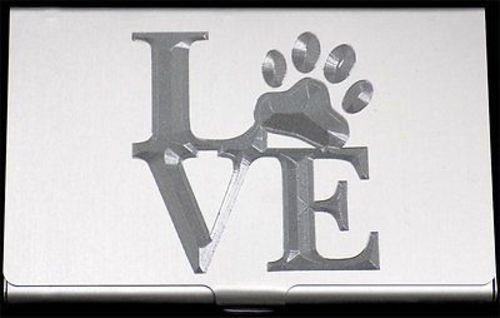 DOG Paw Print LOVE Pet Engraved Business Credit Card Case Holder Gift (Pet Business Cards)