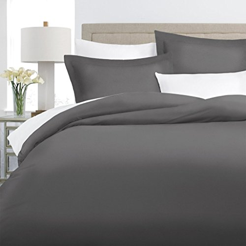 Italian Luxury 100% Long-Staple Combed Cotton Duvet Cover Set - Hypoallergenic Duvet Cover with Zippered Closure and Matching Shams - Full/Queen - Gray