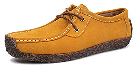 Kunsto Women's Nubuck Leather Snail Shoes Lace Up US Size 10 Yellow - Color Shoes Pants