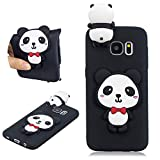 SKYXD Cute 3D Cartoon Red Bow Panda Pattern Soft TPU Silicone Design Case for Samsung Galaxy S7 Edge, Candy Colour Flexible Rubber Slim Fit Shockproof Anti-Scratch Skin Protective Bumper Cover