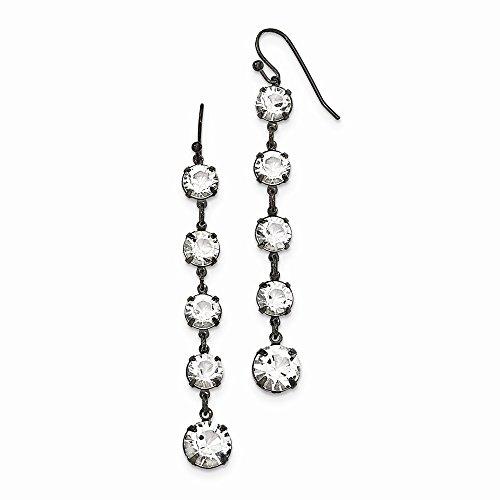 (1928 Jewelry, Black-plated Clear Swarovski Elements Dangle Earrings)