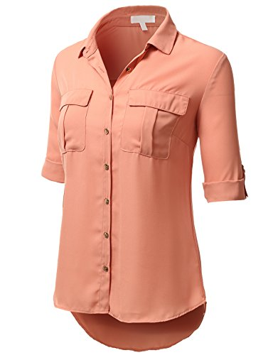 H2H Womens Casual Blouse Rolled