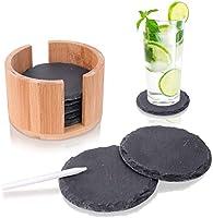 Amazy Posavasos de Pizarra Ø 10 cm (8 Unid.) Incl. Tiza – Posavasos Decorativos de Pizarra 100% Natural con práctico Estuche de bambú – Idea Genial para Regalo