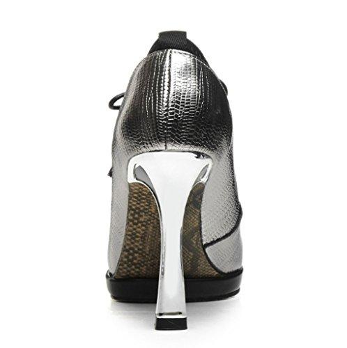 Chaussures dérapantes Hauts Travail pour Color Talons Anti de Pointues Color à Gun Cuir Chaussures 39 en LBDX Gun Femmes Taille Chaussures véritable Chaussures coréenne Version Couleur qtYtUwA