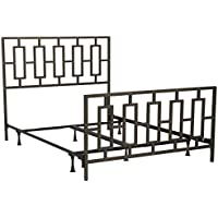Miami Complete Bed with Squared Tube Metal Duo Panels and Geometric Design, Coffee Finish, Queen
